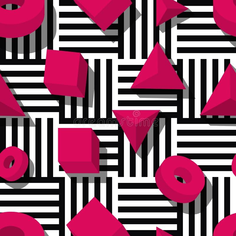 Modelo geométrico inconsútil del vector Formas rosadas 3d en fondo rayado blanco y negro libre illustration