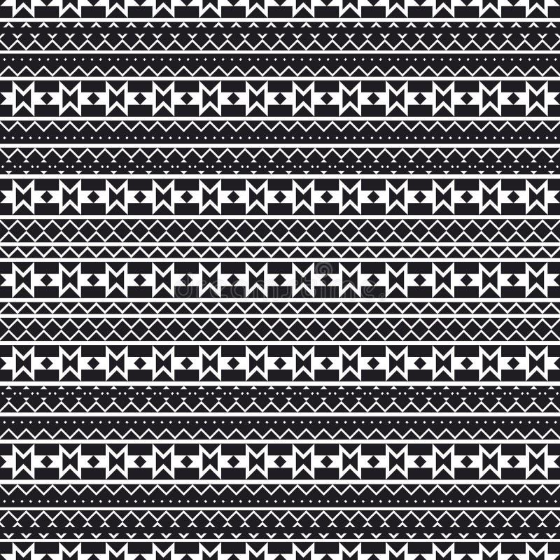 Modelo geométrico inconsútil en estilo étnico Modelos de indios americanos La textura de la cubierta, tela, fondo, papel, wra ilustración del vector