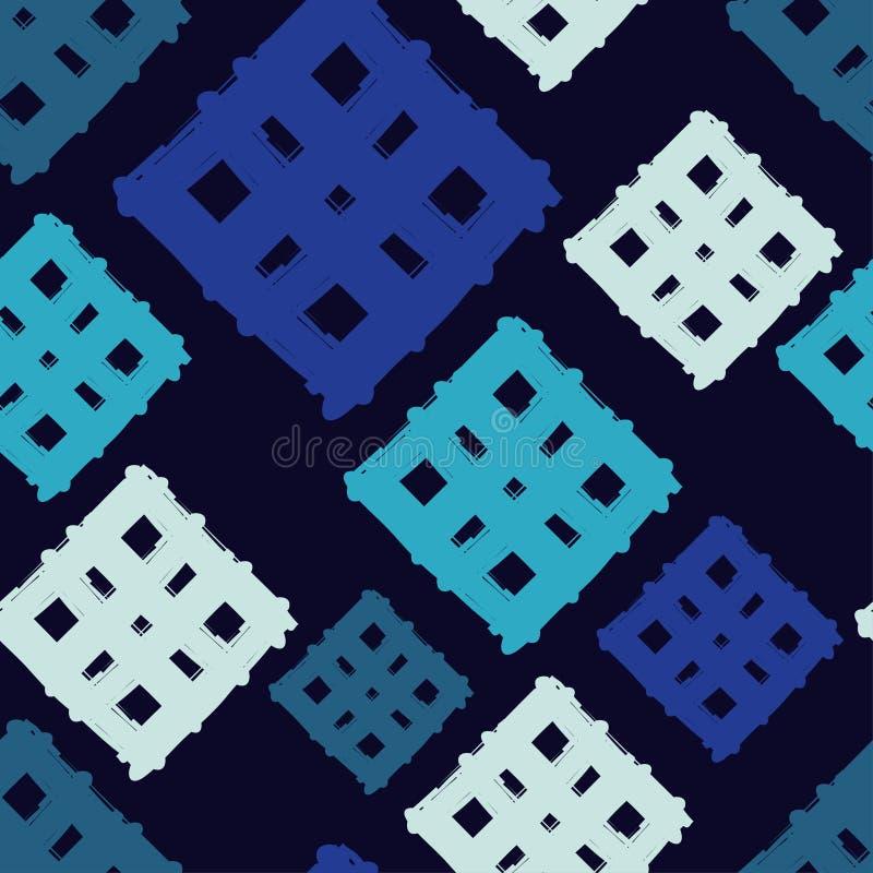 Modelo geométrico inconsútil La textura de las tiras brushwork Textura del garabato stock de ilustración