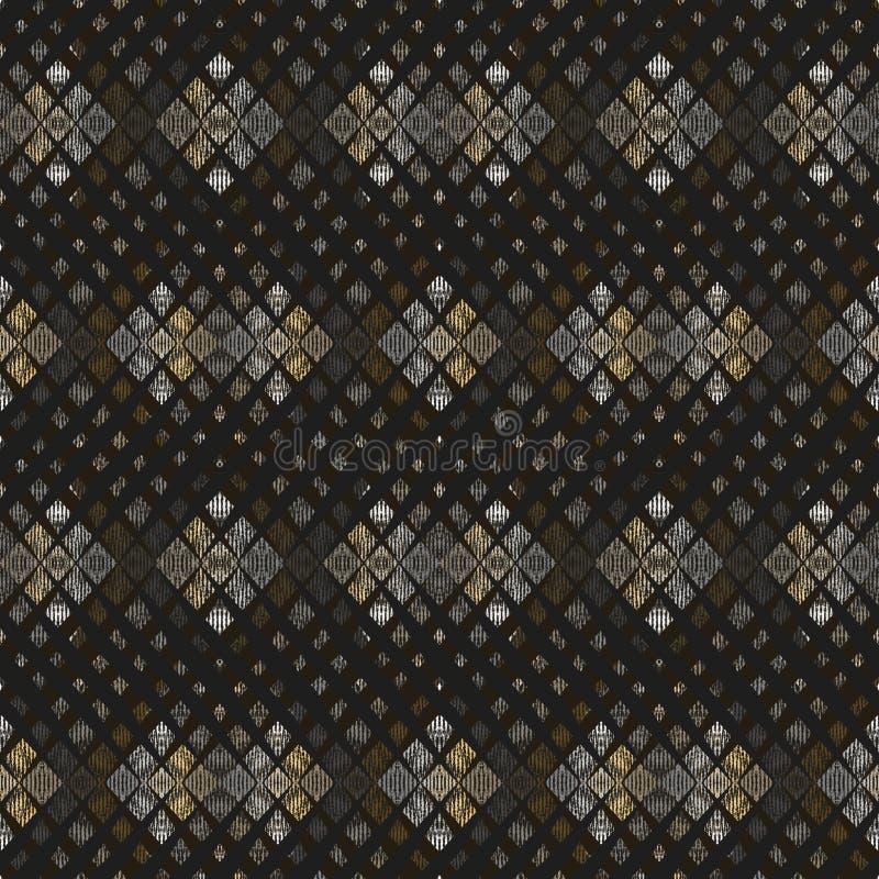 Modelo geométrico inconsútil Pequeños cuadrados grises, de oro en fondo negro stock de ilustración