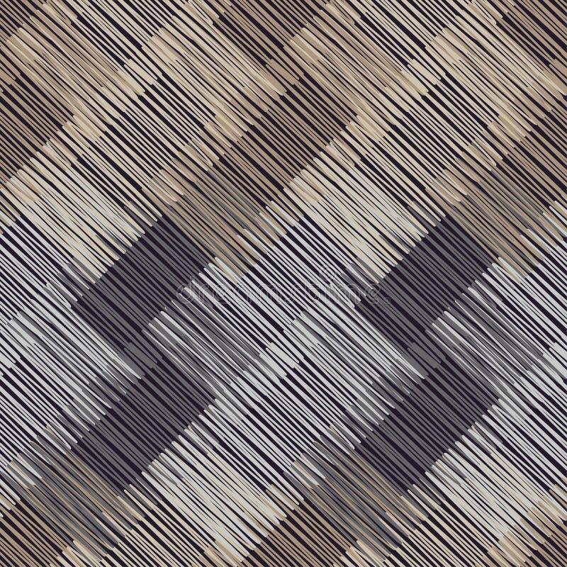 Modelo geométrico inconsútil Piso de Brown con textura de madera Estera asiática Textura del garabato stock de ilustración