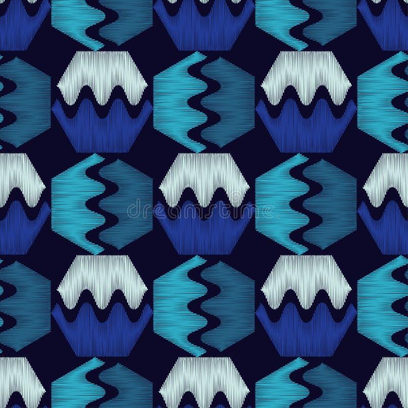 Modelo geométrico inconsútil Textura de los hexágonos Textura del garabato Colores brillantes y formas simples stock de ilustración