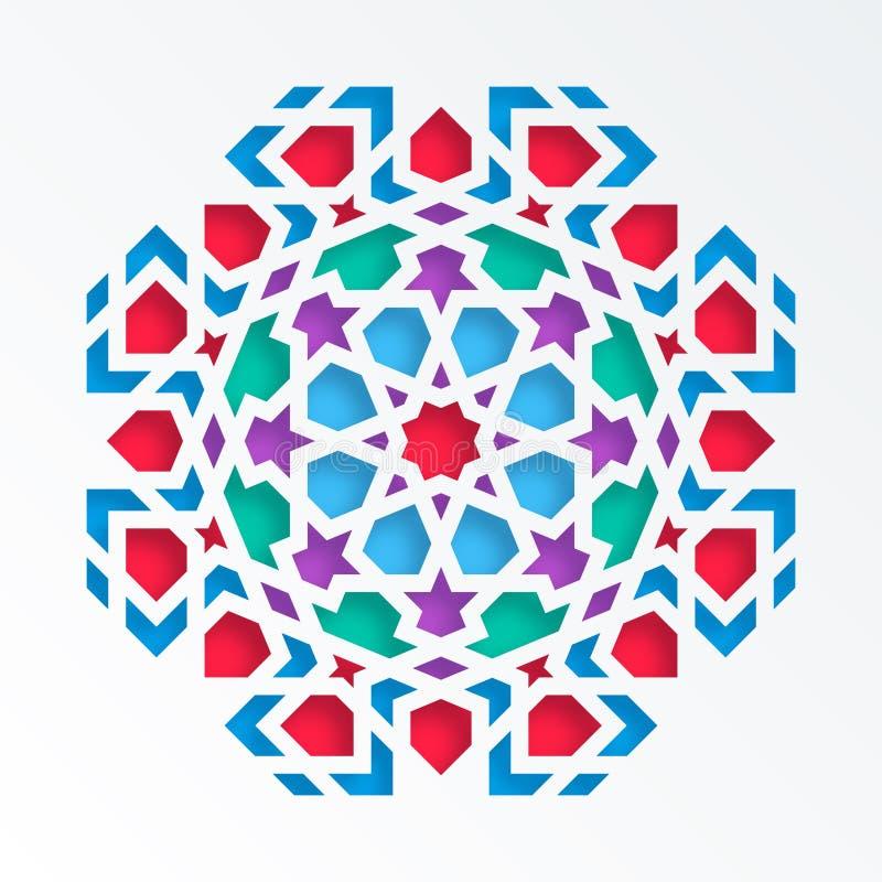 Modelo geométrico islámico Mosaico musulmán del vector 3D, adorno persa Elemento de la decoración de la mezquita Mandala colorida ilustración del vector