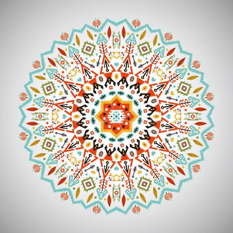 Modelo geométrico redondo ornamental en estilo azteca ilustración del vector