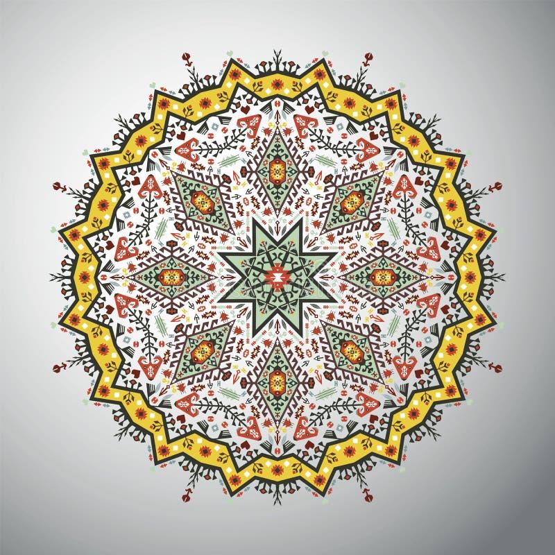 Modelo geométrico redondo ornamental en estilo latinoamericano ilustración del vector