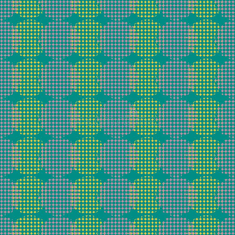 Modelo geométrico retro abstracto inconsútil Círculo y óvalos mezclados en la disposición vertical stock de ilustración