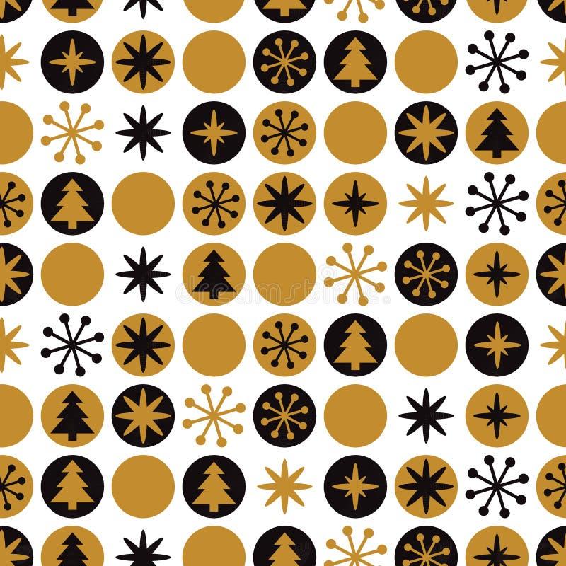 Modelo geométrico retro moderno de la Navidad en colores negros de oro del oro del inconformista con los elementos redondos libre illustration