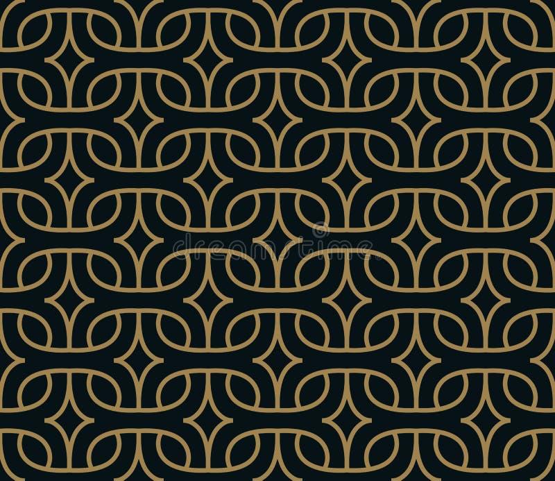 Modelo geom?trico abstracto con las l?neas Un fondo incons?til del vector Textura negra y del oro azul stock de ilustración