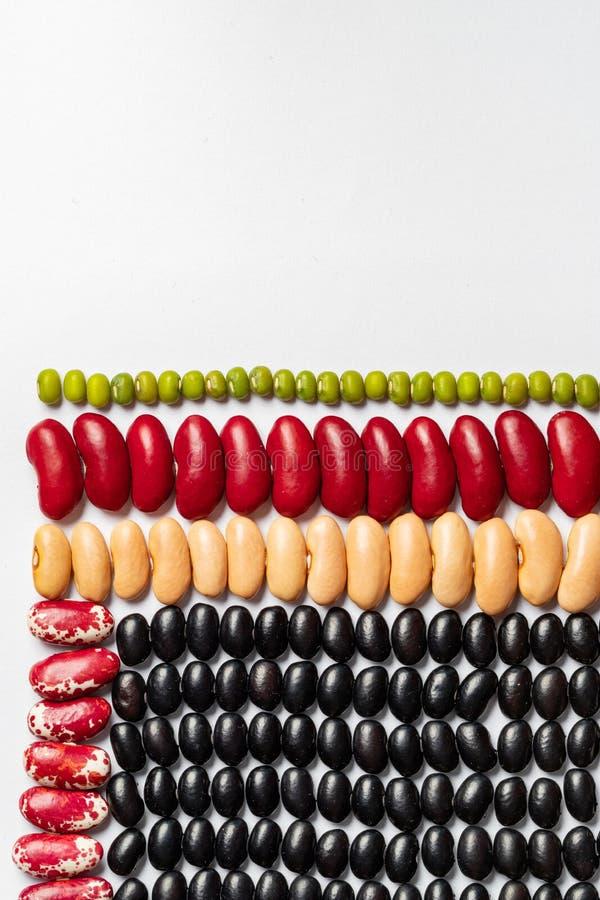 Modelo geom?trico de la haba Texturas multicoloras de las legumbres: habas de riñón, ojo morado, pinto, lenteja imagen de archivo