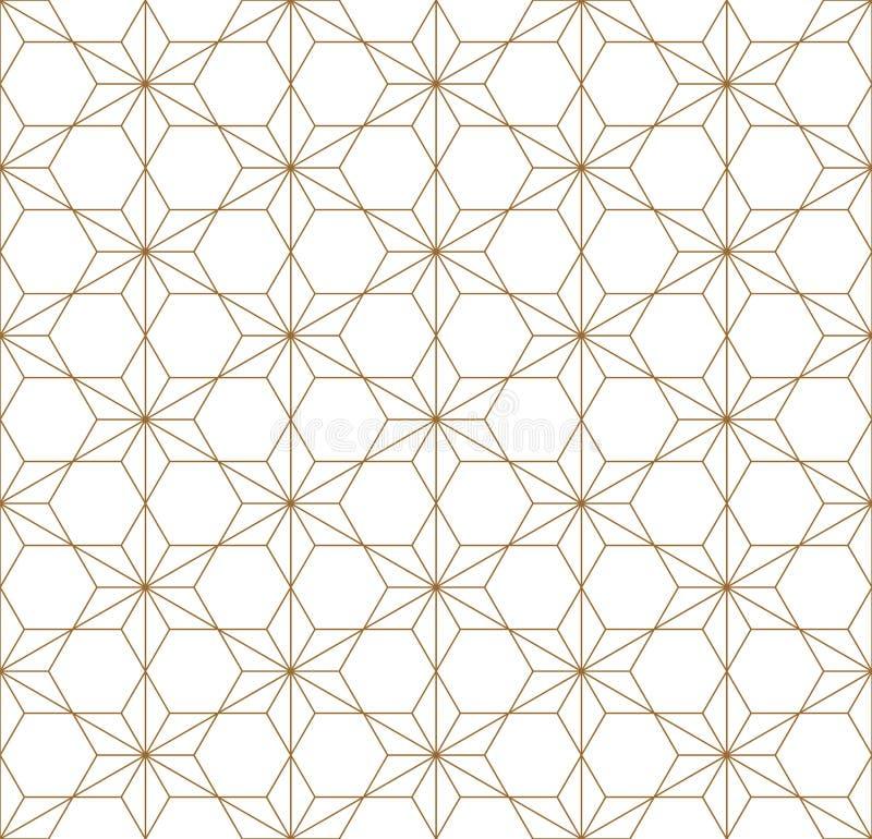 Modelo geom?trico incons?til basado en el ornamento japon?s Kumiko ilustración del vector