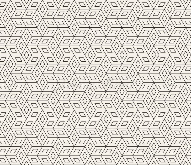 Modelo geom?trico incons?til del vector Líneas finas abstractas simples enrejado La repetición del Rhombus forma el embaldosado d stock de ilustración