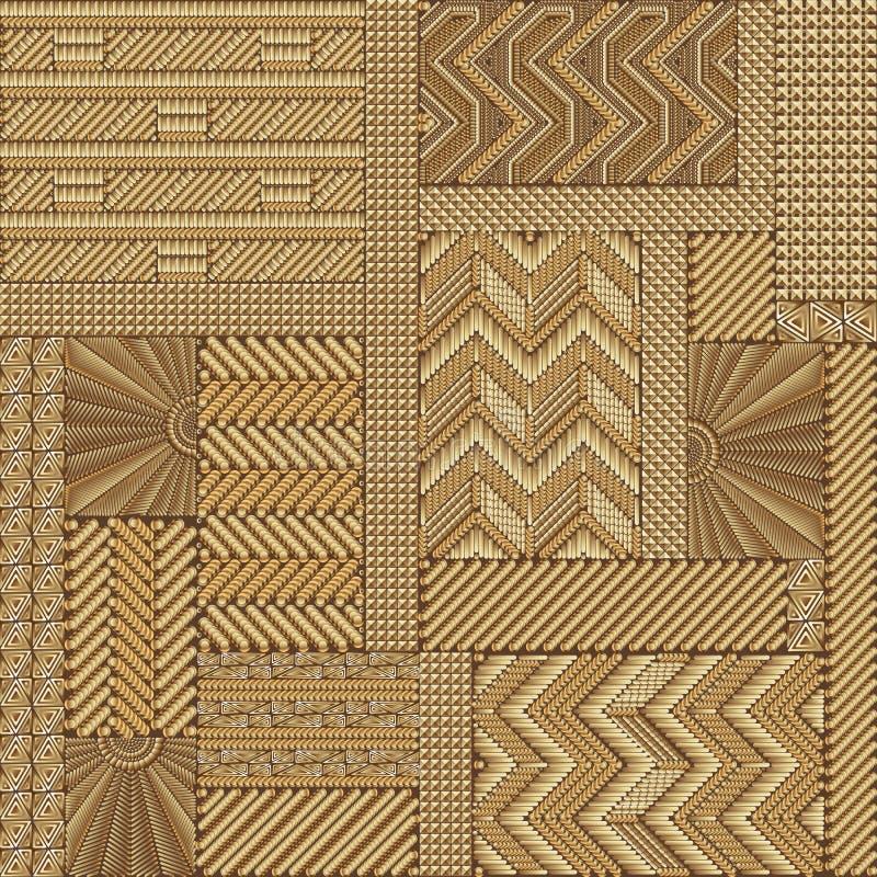 Modelo geometic del remiendo étnico del oro ilustración del vector