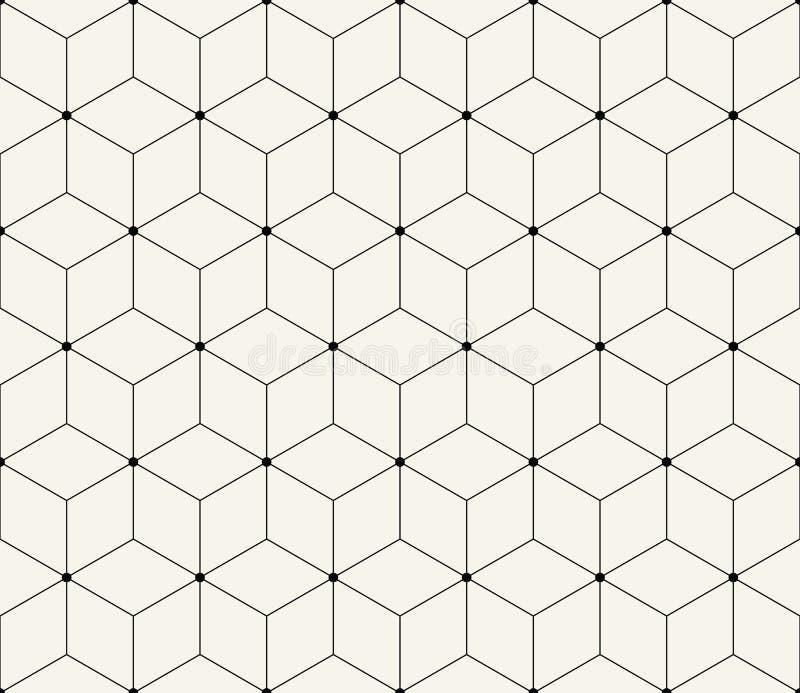 Modelo gráfico del hexágono del deco de la rejilla sagrada de la geometría ilustración del vector
