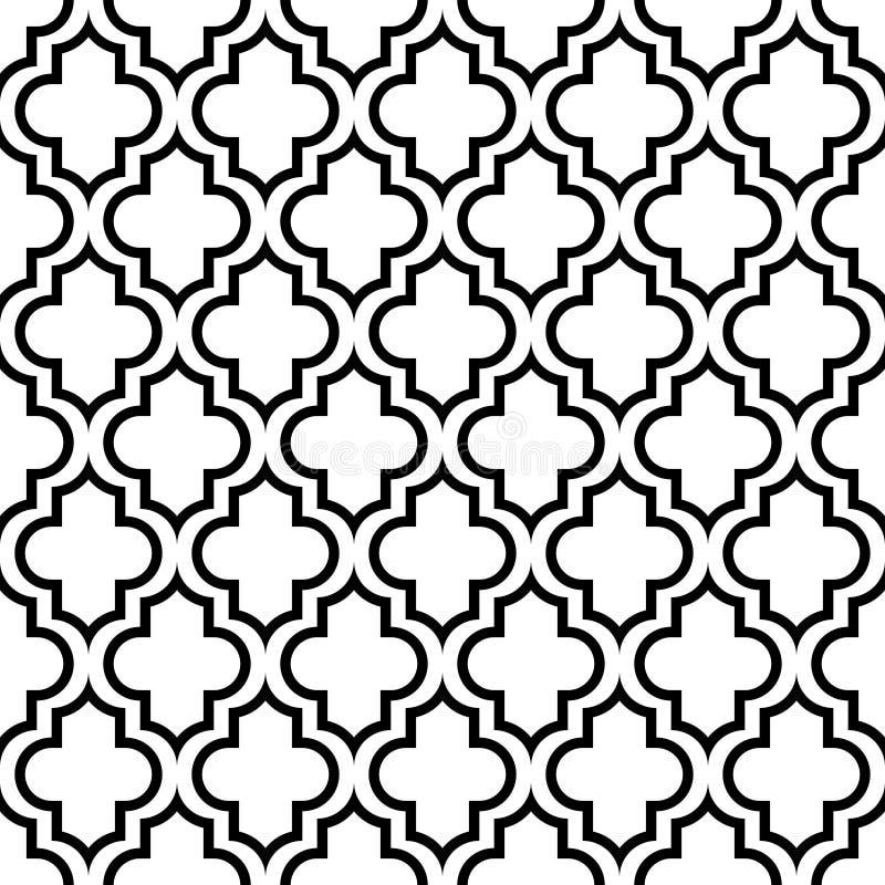 Modelo gráfico inconsútil Oriental blanco y negro stock de ilustración