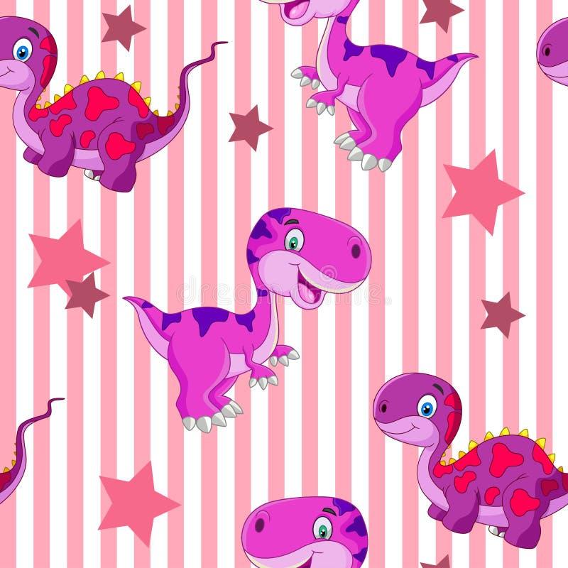 Modelo gráfico lindo inconsútil del dinosaurio de la historieta del vector Diseño de la niñez stock de ilustración
