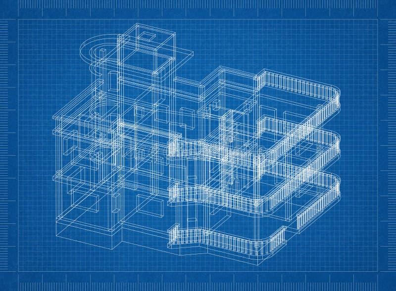 Modelo grande do arquiteto da casa ilustração royalty free