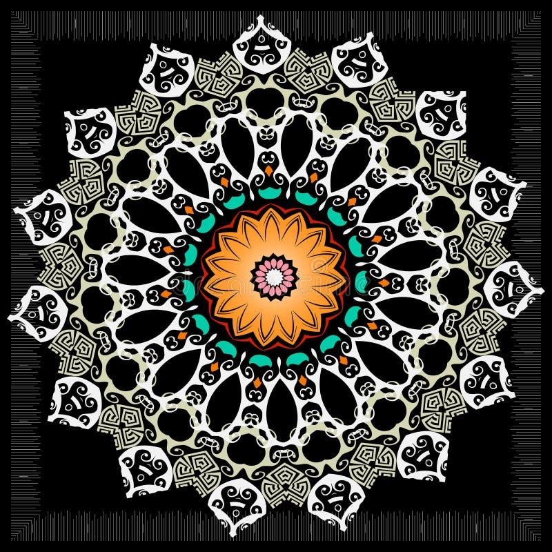 Modelo griego de la mandala de la ronda colorida de la elegancia Fondo floral ornamental Ornamento hermoso del círculo étnico del libre illustration