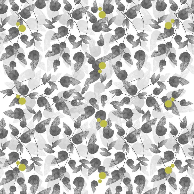Modelo gris inconsútil de la hoja con los puntos amarillos ilustración del vector
