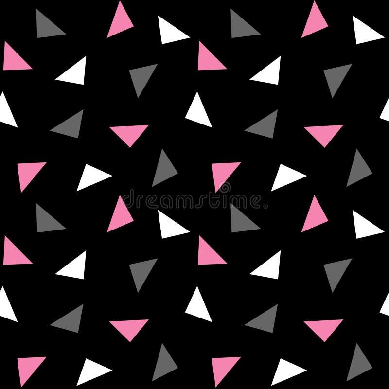Modelo gris rosado blanco de los triángulos en el fondo negro v inconsútil fotos de archivo libres de regalías