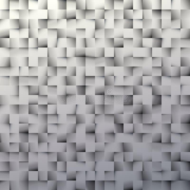Modelo hecho de cuadrados, fondo gris, estilo geométrico Textura simple ilustración del vector