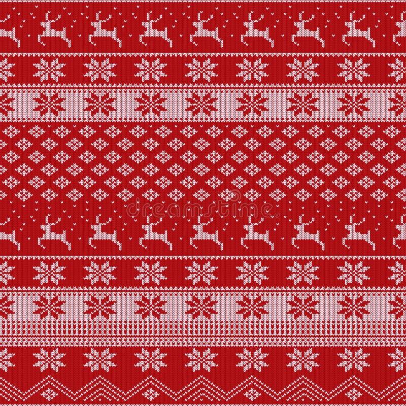 Modelo hecho punto del suéter de la Navidad con los ciervos, abetos, copos de nieve Fondo de la tela del invierno libre illustration