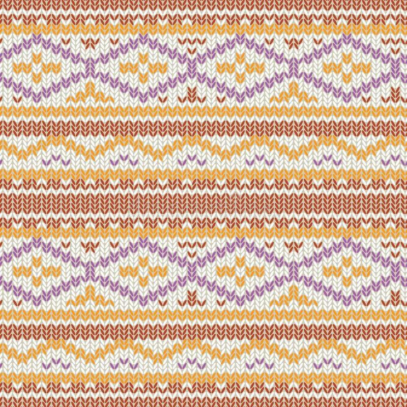 Modelo hecho punto del vector con el ornamento geométrico acogedor Textura dibujada mano del suéter del invierno en colores de ma stock de ilustración