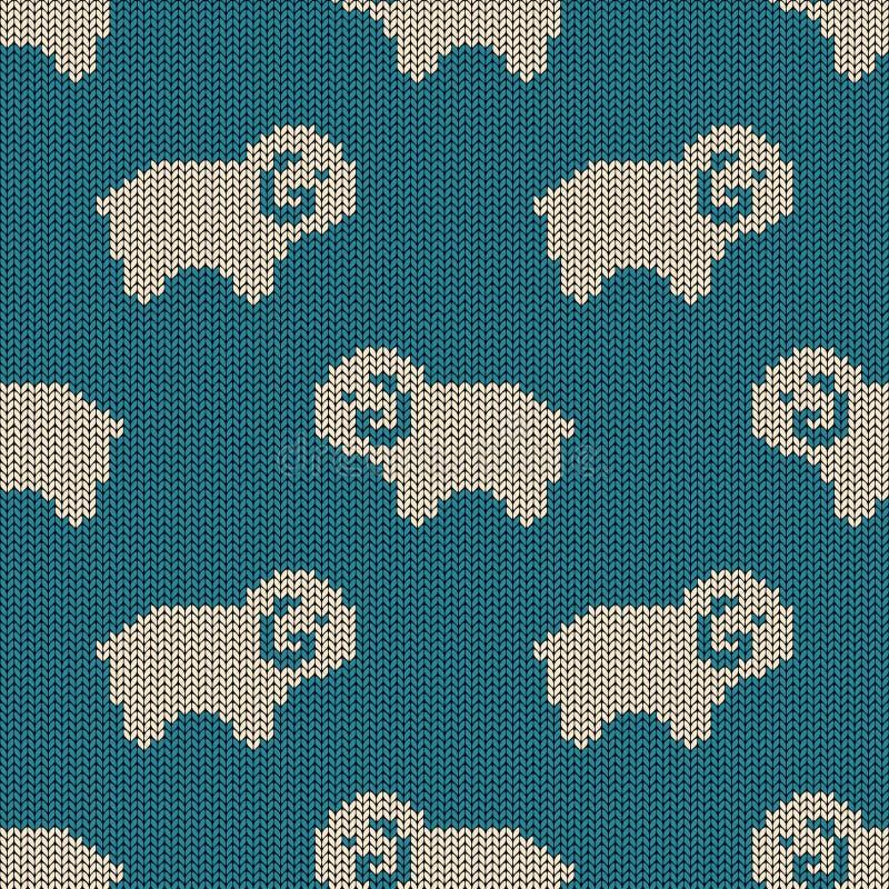 Modelo hecho punto inconsútil con las ovejas ilustración del vector