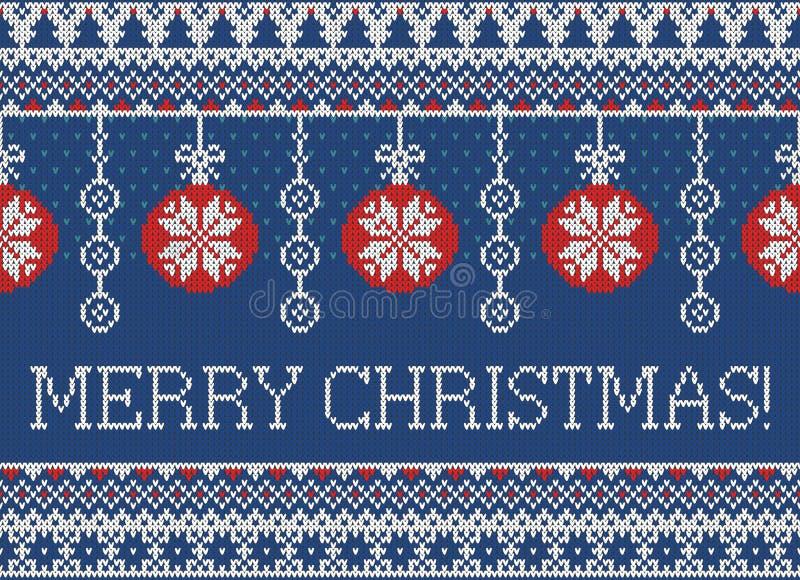 Modelo hecho punto inconsútil de la Feliz Navidad y del Año Nuevo con las bolas, los copos de nieve y el abeto de la Navidad Esti ilustración del vector