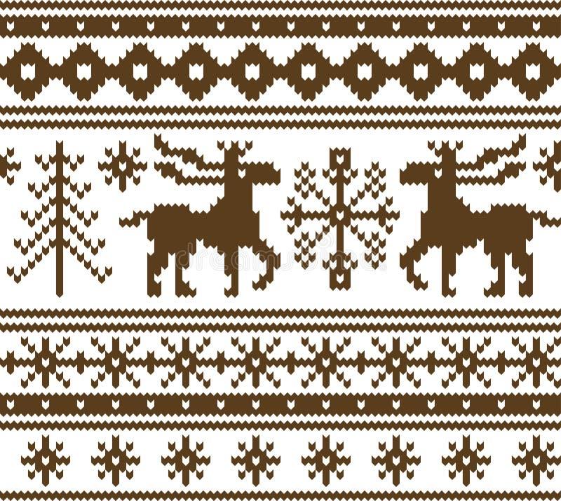 Modelo hecho punto inconsútil de la Navidad stock de ilustración