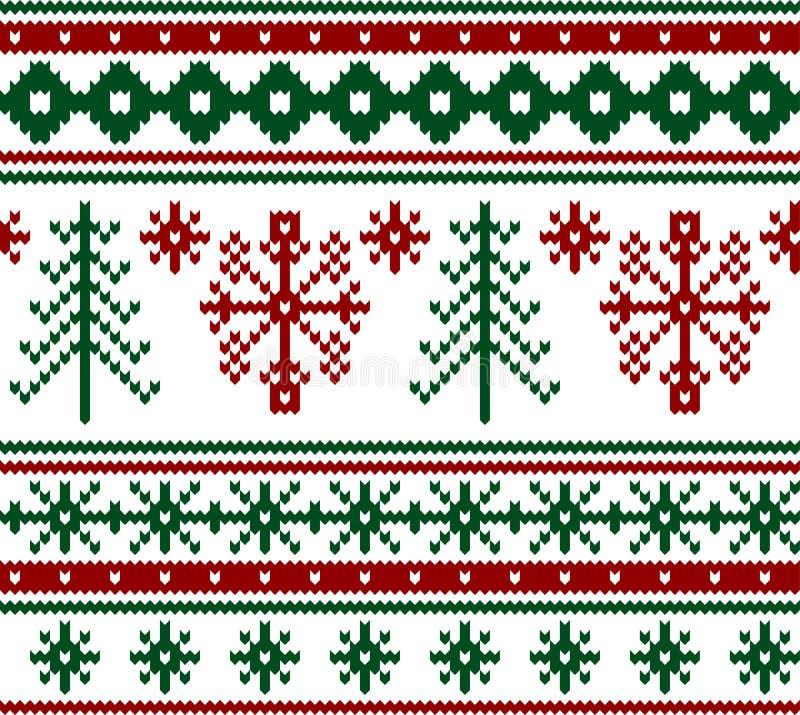 Modelo hecho punto inconsútil de la Navidad ilustración del vector