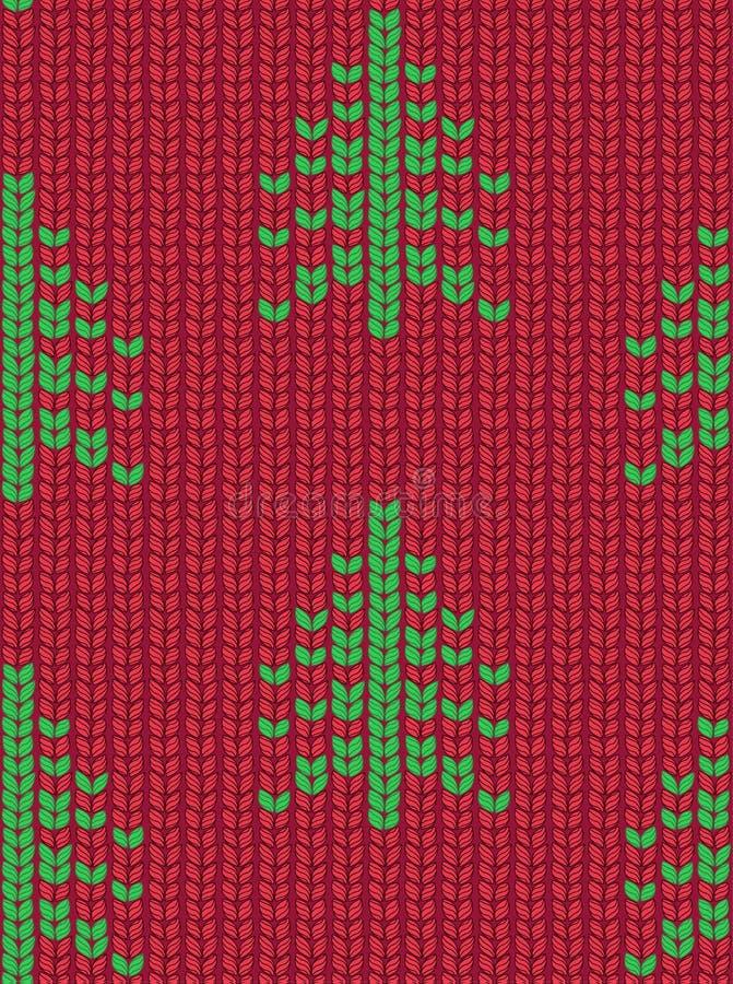 Modelo hecho punto inconsútil del árbol de navidad Imágenes de pixel verdes con el fondo rojo libre illustration