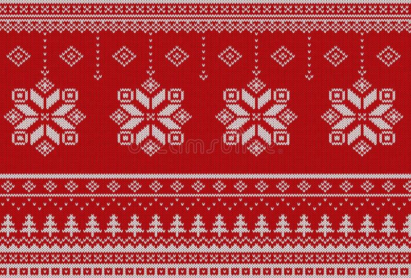 Modelo hecho punto inconsútil del estilo escandinavo de la Feliz Navidad ilustración del vector