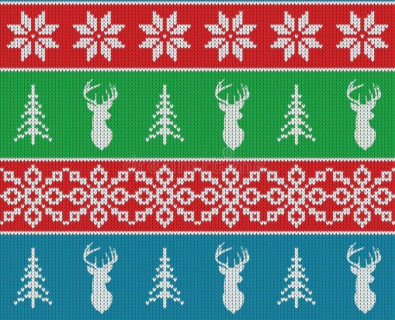Modelo hecho punto inconsútil del invierno escandinavo de la Navidad Silueta o reno principal de los ciervos, copo de nieve y árb ilustración del vector