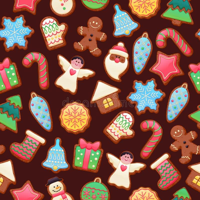 Modelo hermoso colorido de los iconos de las galletas de la Navidad ilustración del vector