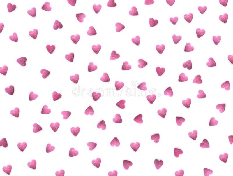Modelo hermoso con los corazones rojos aislados en el blanco - fondo del día de tarjeta del día de San Valentín Papel pintado rom foto de archivo
