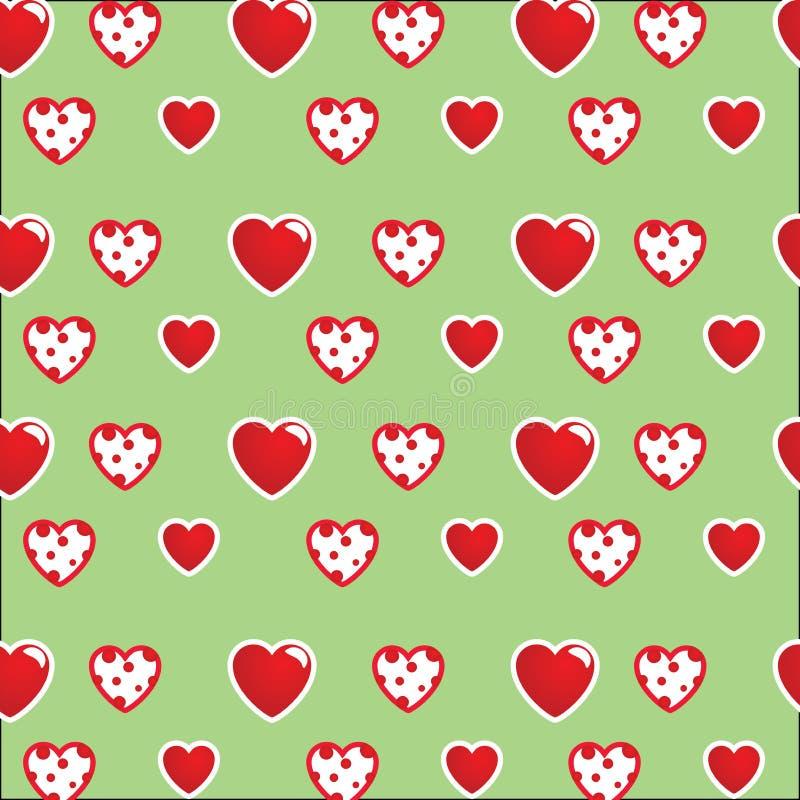 Modelo hermoso: corazones blanco-rojos en un fondo coloreado verde claro brillante Para las materias textiles, telas fotografía de archivo