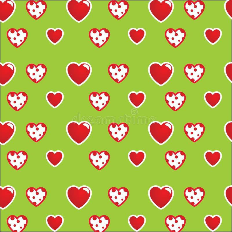 Modelo hermoso: corazones blanco-rojos en un fondo verde claro Para las materias textiles, telas Impresión elegante romántica, te fotografía de archivo