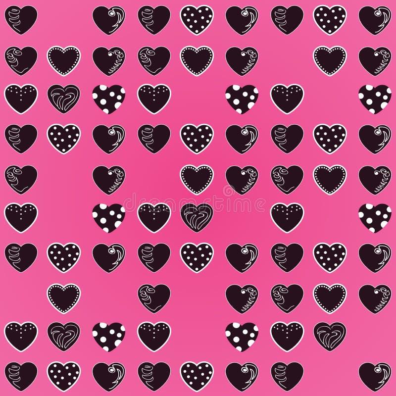 Modelo hermoso: corazones negros en fondo rosado brillante Para las materias textiles, telas Impresión linda romántica, textura V fotos de archivo libres de regalías