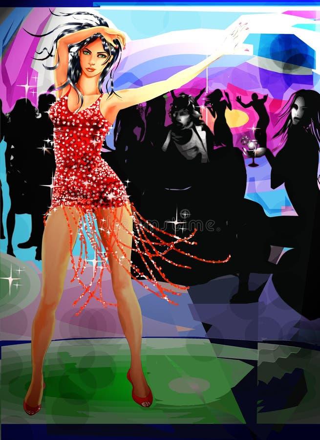 Modelo hermoso del baile stock de ilustración