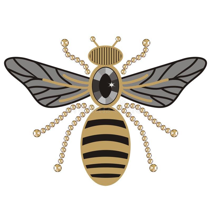 Modelo hermoso del oro brillante de las abejas del vuelo y de la impresión negra con los diamantes artificiales, el bordado y la  ilustración del vector