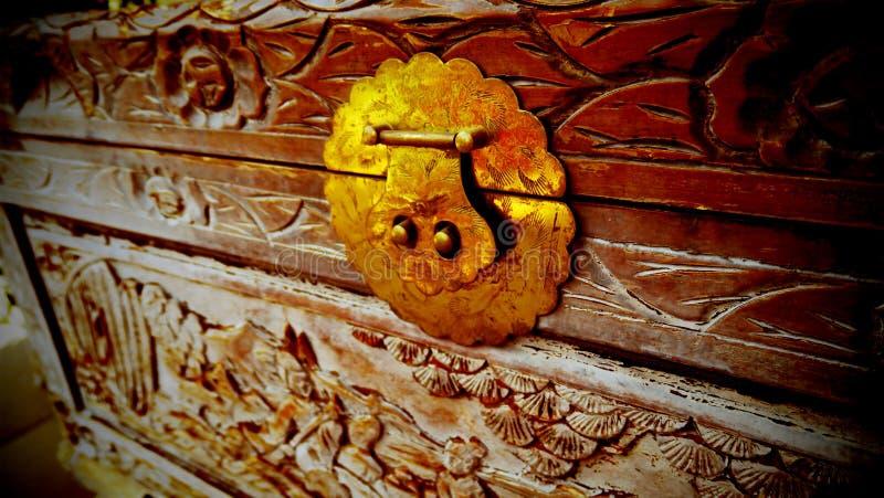 Modelo hermoso tallado en un pecho de madera viejo stock de ilustración