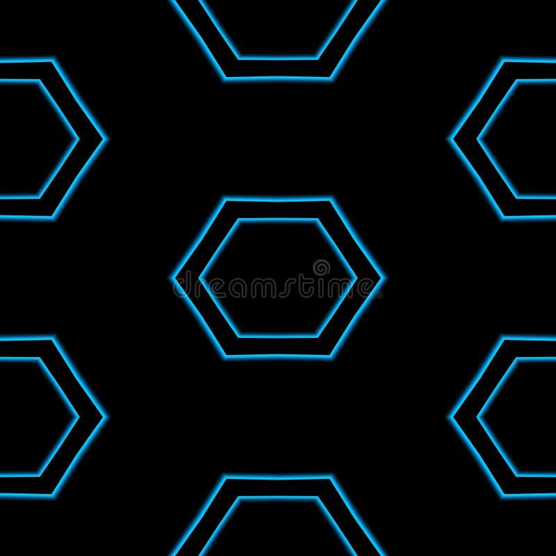 Modelo hexagonal azul abstracto inconsútil en fondo negro stock de ilustración