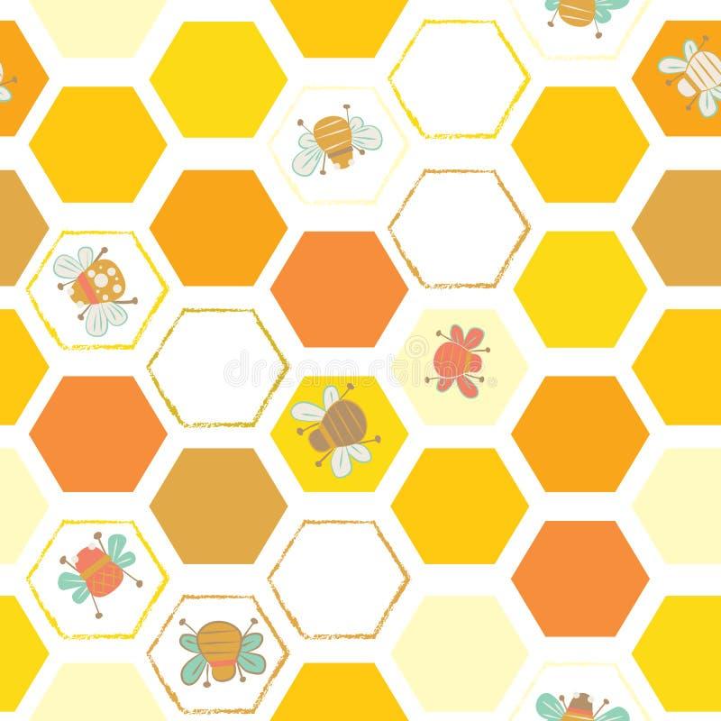 Modelo hexagonal del fondo con las abejas libre illustration