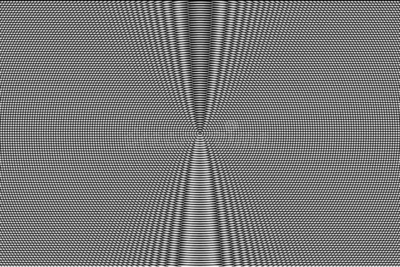 Modelo hipnótico blanco y negro de la ilusión óptica abstraiga el fondo Textura monocromática del efecto de la interferencia ilustración del vector