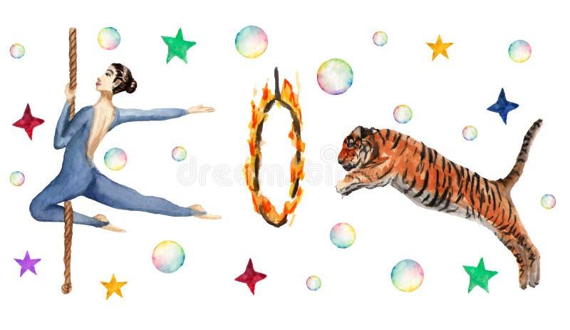 Modelo horizontal del circo, burbujas de jabón, estrellas, tigre, anillo del fuego, acróbata Ejemplo de la acuarela en blanco ilustración del vector