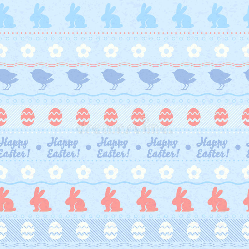 Modelo horizontal inconsútil de pascua - color azul stock de ilustración