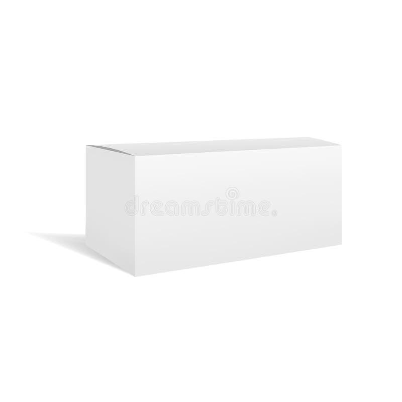 Modelo horizontal retangular da caixa do vetor branco ilustração royalty free