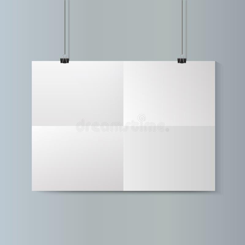 Modelo horizontal vazio do cartaz do Livro Branco na parede cinzenta Vetor ilustração royalty free