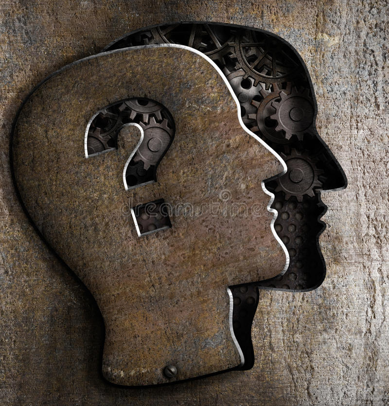 Modelo humano do cérebro do metal com ponto de interrogação ilustração do vetor