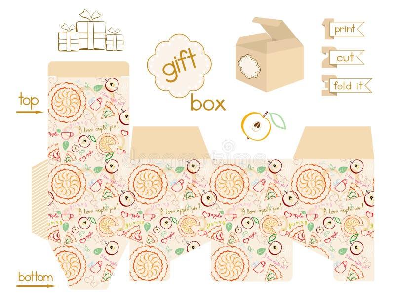Modelo imprimible de la empanada de Apple de la caja de regalo stock de ilustración